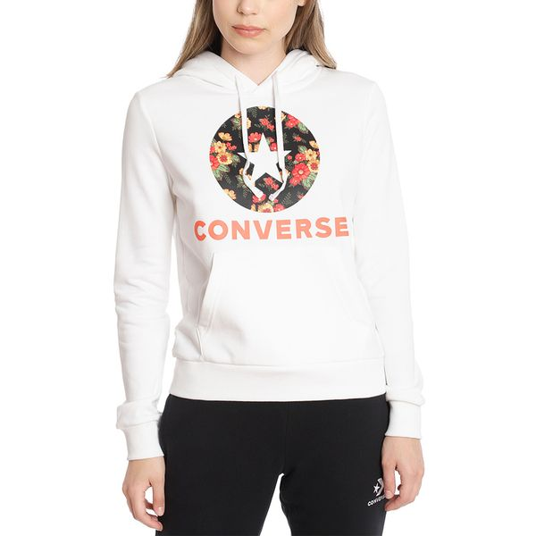 Poleron-Hoodie-Mujer-Flores-Chuck-Patch-Blanco